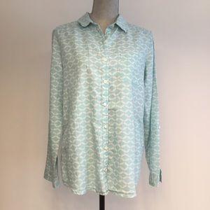 Caslon Medium Blue White Long Sleeve Linen Shirt